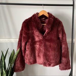 Forever 21 Exclusive Maroon Red Faux Fur Coat L